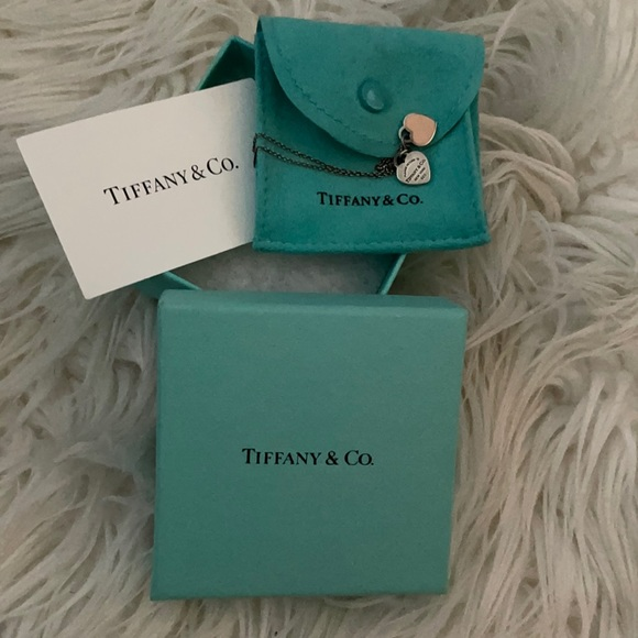 Tiffany & Co sterling silver dog tag necklace pink